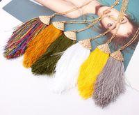 Arrowhead треугольник Boho Шелковая кисточка Подвеска Длинных цепей ожерелье для женщин весны лето моды Крупногабаритных Bohemia кисточка ожерелье ювелирных изделий
