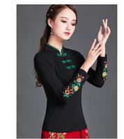 retro gola chinesa de algodão estilo cheongsam novo design das mulheres manga longa bordados de flores elásticos plus size 5XL 6XL t-shirt topos