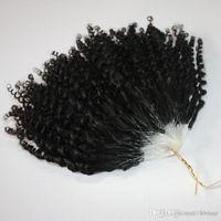 페덱스 DHL 무료 CE 제리 곱슬 마이크로 링 헤어 확장 400S / 많은 변태 곱슬 루프 머리 자연 색상 루프 머리를 인증