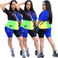 Kadınlar Eşofman Marka Tasarımcı ekleme tişört Kazak + Şort 2 Adet Kıyafetler renk eşleme Sportwear lüks giysiler yeni D52812 ayarlar Tops