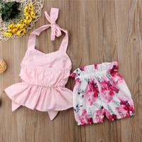 أزياء طفلة ملابس الصيف أكمام عارية الذراعين تي شيرت + السراويل 2 قطعة مجموعة القوس حزام تانك القمم كبيرة الأزهار طباعة السراويل الملابس A41803