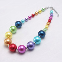 Joyería más nueva del color del arco iris perla Kid perla de los granos gruesos Moda Bubblegume Bead Chunky Collar cabrito del bebé de la muchacha