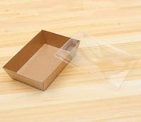 200 takım Tek kullanımlık gıda kapları 950ml Kraft kağıt ambalaj kutusu şeffaf kapaklı fast food kutuları ile