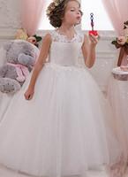 Cute Tutu Skirt Ball Gown Flower Girls Dresse Sash Beaded LAce Applique Sexy Backless First Cummunion Dresses