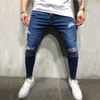 Mens azul agujero de la manera Rasgado Vaqueros Streetwear apenado destruido elástico delgado vaqueros de Hip-hop pantalones de chándal agujero Denim