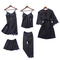 5 piece Ladies V- neck Nighties mini Pajama Set stain lace Ba...