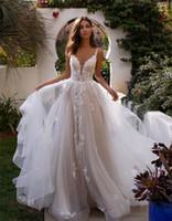 Espagueti del A línea vestidos de boda 2020 Tul apliques Volantes de Bohemia del vestido de novia sin espalda Vestidos de boda