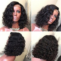 Full Lace Human Hair Wig Wavy Short Bob Pre- plucked Hairline...