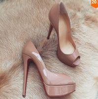 Kadın Düğün Ayakkabı Kırmızı Dipleri Peep-Toe Patent Deri Kırmızı Alt Yüksek Topuklu 14 cm Ayakkabı Kadın Su Geçirmez Topuklu Elbise Pompaları ABD Boyutu 34-45