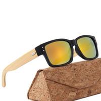 Freie Verschiffen 2019 Luxus-Gläser Marke Designer-Sonnenbrillen für Männer Frauen Rechteck Bambusholz Sonnenbrille mit Kästen Fall Lünetten Rahmen