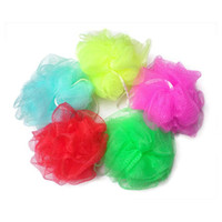 Al por mayor-5X baño de esponja de malla bola Scrunchie Body Wash Scourer Exfoliate Puff Shower