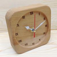 الصفحة الرئيسية مكتب الجدول ساعة نقية الزان الخشب ساعة سوبر هادئة diy الإبداعية الفن المنبه المنزل / الديكور مكتب