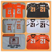 망 1986-1988 레트로 NCAA 오클라호마 주립 카우보이 21 Barry Sanders College Football Jerseys 저렴한 샌더스 대학 축구 셔츠 오렌지