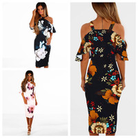 Women Halter Floral Dresses Short Sleeve Floral Print Off Sh...