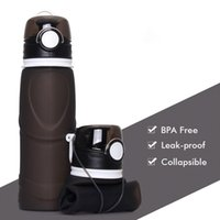 alta calidad plegable 25 oz botella de agua reutilizable BPA libre silicona de grado alimenticio de fugas portátil, recorrido de la botella a prueba de agua para el viaje gimnasia