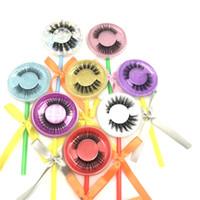 Nuovo Faux ciglia con il Lollipop Lollipop Caso Ciglia 3D visone ciglia Ciglia finte 3D visone folte ciglia falso Faux ciglia trucco