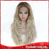 Free Shipping Brown Roots Ombre Blonde Color Loose Wave Wigs...