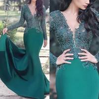 Vestidos de fiesta musulmán verdes 2020 Sirena con cuello en V Mangas largas Lace Islámico Dubai Arabe Saudí Elegante Vestidos de noche formales largos