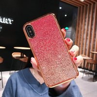 Custodia rigida con paillettes glitter per Apple Phone X Xs Max XR 8/7/6 Plus Hybird Anti-slip Custodia protettiva anti-scivolo per impronte digitali