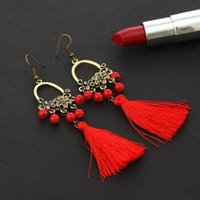 Bohemian Long Statement Tassel Earrings For Women 4 Color Ch...