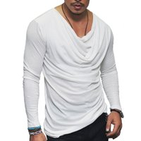 Erkek T-Shirt T Gömlek Erkekler Moda Katlama Tasarım Katı T-shirt Uzun Kollu Hip Hop Streetwear Slim Fit Tshirt Tops