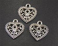 Los resultados 200pcs color afiligranado de plata del encanto del corazón de bricolaje collar del brazalete 15x16mm A1949