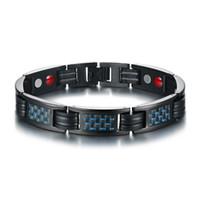 11.5 MM preto moda masculina germânio ímãs pulseira de fibra de carbono de aço inoxidável pulseira pulseira de presente de jóias para homens meninos J094