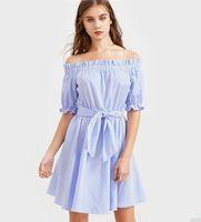 여성 스트라이프 띠 새로운 여름 드레스 섹시한 오프 숄더 A 라인 블루 컬러 슬래시 목 캐주얼 반바지 드레스 패션 셔츠 드레스를 인쇄