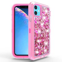 3in1 antiurto Glitter fluente Liquido TPU + PC Heavy Duty Full Body Shell protettivo per iPhone 11 11 pro 11 pro max