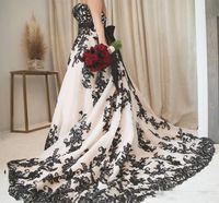Vintage Gótico Blanco y negro Vestidos de novia 2020 más Tamaño Talla sin tirantes Train de barrido Corset Country Western Cowgirl Body Body