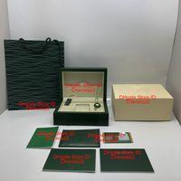 الجملة أسلوب جديد الخضراء ووتش الخشب الأصلي مربع ورقات هدية الساعات صناديق حقيبة جلدية بطاقة لصندوق 116600 ووتش مربع