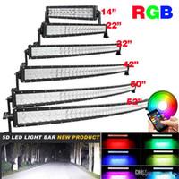 5D RGB Светодиодный прожектор B BLUETOOTH APP CONTROL CONTROL 16 миллиона цветных изменений изогнутой света 4x4 грузовик лодки 120W 288W 300W рабочая лампа