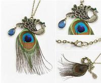 Fashion-Beautiful Peacock Feathers Long Sweater Chain Feather Crystal Pendant Peacock Feather Chain Charm Statement Jewelry Christmas Gift