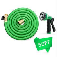 Deluxe 50 FT Água mangueira de pulverização Bico expansível Garden flexível Verde