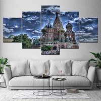 5 Pcs HD Printed Castle Fantasy World Canvas Art Painting Po...