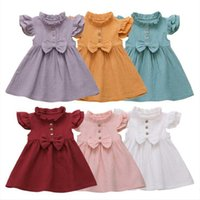 Meninas bebés Vestidos Crianças Bow Ruffle Princesa Vestido Sólido Mosca mangas Patchwork Tutu Vestidos Infantil Festa de Verão Terno de Aniversário AYP461