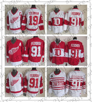 Mens Sergei Fedorov Detroit Red Wings 75th Hockey Maglie Vintage CCM Winter Classic Alumni # 91 Sergei Fedorov Stitched Jersey Rosso Bianco