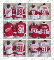 Herren Sergei Fedorov Detroit Red Wings 75. Hockey Trikots Vintage CCM Winter Classic Alumni # 91 Sergei Fedorov Genähtes Trikot Rot Weiß