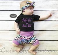 2020 الصيف السروال القصير للأطفال بدلة بنات الطفل قصيرة الأكمام تي شيرت المآزر رومبير السمك مقياس السراويل الشعر الفرقة 3 قطعة طقم ملابس E21904