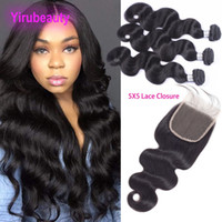 Peruvian Virgin Hair 3 Bundles With 5X5 Lace Closure 4 Piece...