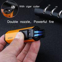 Nouveau HONNÊTE briquet torche coupe-vent double Pistolet Jet Butane allume-cigare multifonction avec Cutter allume-cigare bien