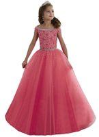Girls Pageant Abiti dalla spalla lunga Princess Birthday Ball Gowns Bambini Prom Dress Dress 2020 Tulle