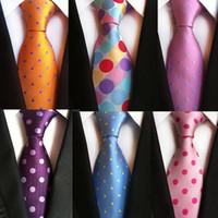 تصميم الأزياء الجديدة ربطة العنق أورانج أبيض أزرق رقصة البولكا نقطة العلاقات لرجل الأعمال الزفاف الرسمي ربطة العنق 8CM الحرير اللباس هدية غرافاتا