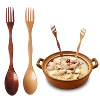 4YANG 1PC 2 in1 Natural Wood Cutlery Dual Head Soup Spoon Fo...