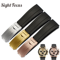 20mm Watch Band for  Watch Man Yacht Master  Brush Folding Clasp Rubber Strap Black Belt Relogio Masculino