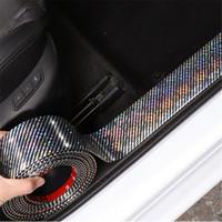 3D ملصقات السيارات الليزر 5D ألياف الكربون المطاط التصميم الباب عتبة البضائع ل كيا أودي مازدا فورد هيونداي، إلخ اكسسوارات عالمية