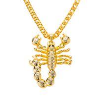 Männer Hip Hop Schmuck Skorpion Lange Kette Gold Farbe Skorpion Anhänger Halskette für Männer Punk Rock Schmuck Geschenk