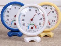 Forma redonda Mini Blanco Interior Exterior Analógico Centígrado Termómetro Higrómetro Temperatura Humedad Medidor Herramientas de medición
