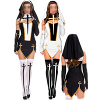 Sexy costume da suora donne adulte vestito da cosplay bianco con cappuccio nero per costume da festa cosplay di Halloween sorella
