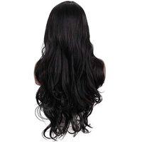 Perruques 28 pouces de longs perruques de cheveux humains naturels aspect ondulé résistant à la chaleur cheveux humains cheveux synthétiques noir